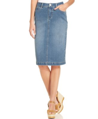 Style & Co. Tummy-Control Denim Skirt, Sea Glass Wash - Skirts ...
