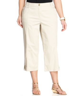 Style&co. Plus Size Pleated Wide-Leg Gaucho Pants - Pants & Capris ...