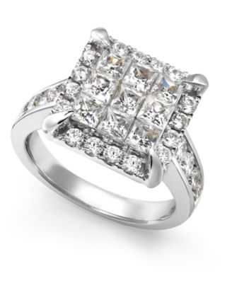 Diamond Square Cluster Ring in 14k White Gold 2 1 2 ct t w