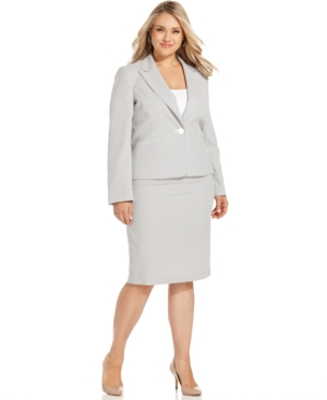 Le Suit Plus Size Seersucker Pencil Skirt