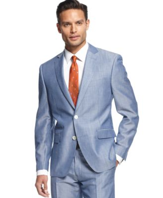 Tallia Suit Light Blue Twill with Tonal Elbow Patches Slim Fit ...