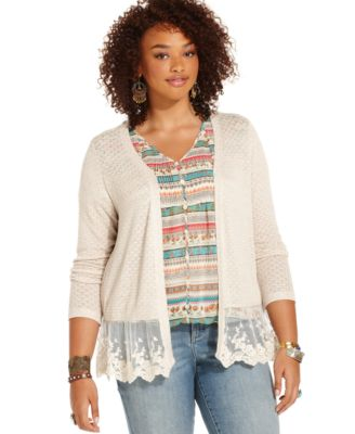 American Rag Plus Size Long-Sleeve Lace-Hem Cardigan - Sweaters ...