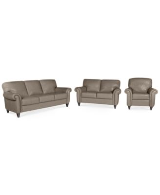 Lovely Arianna Leather Sofa, 3 Piece Set (Sofa, Loveseat, And.