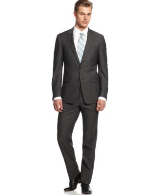 DKNY Suit Dark Grey Tic Extra Slim Fit - Suits & Suit Separates ...