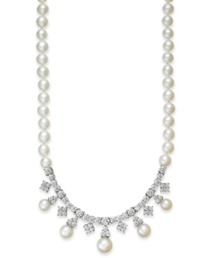 Arabella Bridal Cultured Freshwater Pearl (6mm) and Swarovski Zirconia (8-3/4 ct. t.w.) Necklace in Sterling Silver