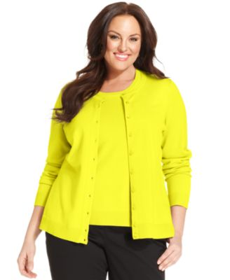 Charter Club Plus Size Long-Sleeve Cardigan - Sweaters - Plus ...