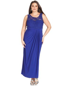 R & M Richards Plus Size Sequin-Lace Draped Gown