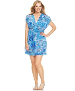 Lauren Ralph Lauren Plus Size Printed Dress Cover Up Women's Swimsuit