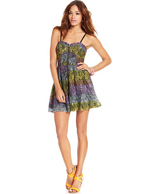 Material Girl Juniorsu0026#39; Printed Sweetheart Romper - Juniors Shorts - Macyu0026#39;s