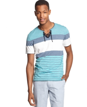 Bar Iii Striped Drawstring T-Shirt $ 19.98
