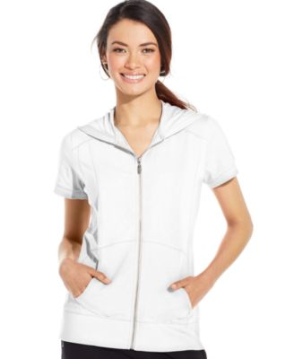 Style & Co. Sport Short-Sleeve Zip-Front Hoodie - Tops - Women ...