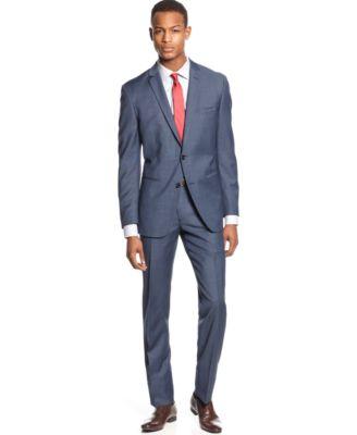 Bar Iii Suit Mid Blue Neat Slim Fit Suits Separates Men