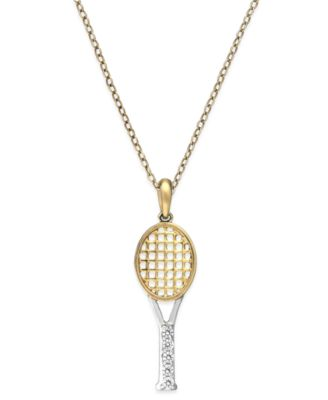 Diamond tennis racket pendant in 14k gold over sterling silver 110 diamond tennis racket pendant in 14k gold over sterling silver 110 ct tw mozeypictures Gallery