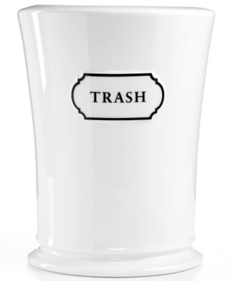 "White Bathroom Garbage Cans martha stewart collection ""trousseau"" trash can - bathroom"