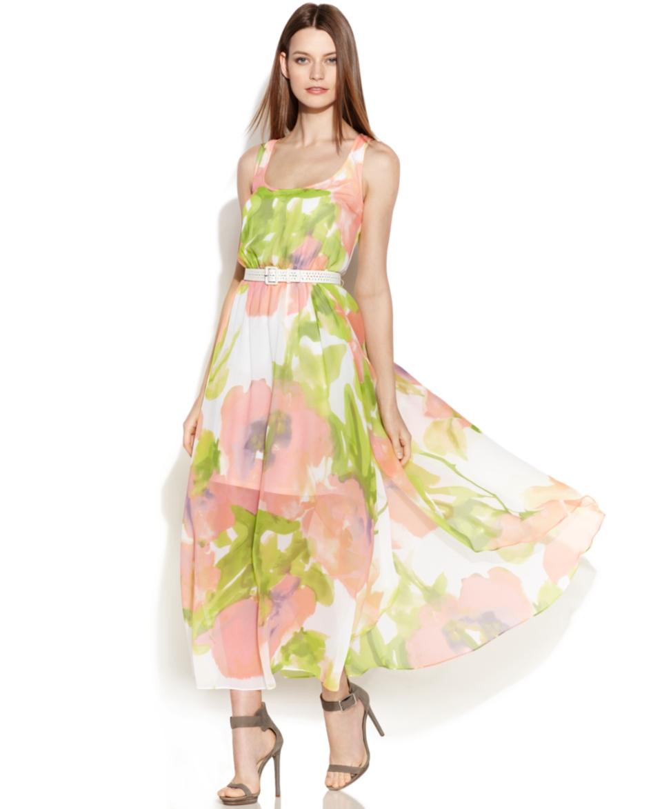 Calvin Klein Floral Print Chiffon Maxi Dress   Dresses   Women