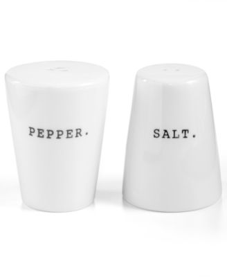 The Cellar Whiteware Words Salt and Pepper Shakers