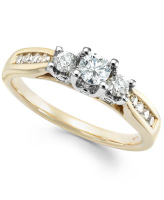 Three Stone Diamond Ring in 14k White or Yellow Gold 1 2 ct t w