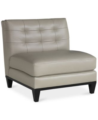 Milania Leather Armless Living Room Chair - Furniture - Macy\'s