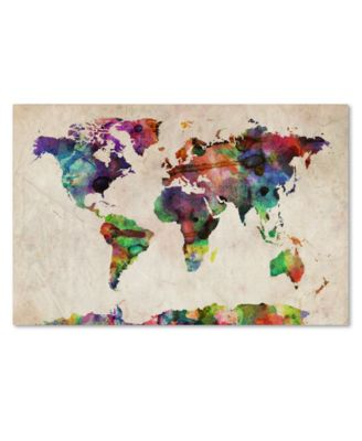 "'Urban Watercolor World Map' Canvas Print by Michael Tompsett, 18"" x 24"""