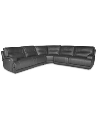 Caruso Leather 6Piece Power Motion Sectional Sofa Furniture Macys