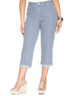 Style & co. Plus Size Tummy-Control Striped Capri Jeans