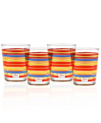 Fiesta Set of 4 Classic Stripe Double Old-Fashioned Glasses