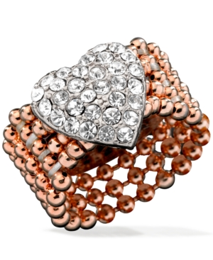 Guess Rose Gold-Tone Bead and Silver-Tone Pave Heart Stretch Ring