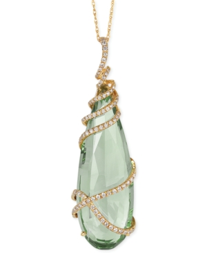 Le Vian Green Amethyst (17-3/4 ct. t.w.) and Diamond (1/3 ct. t.w.) Pendant Necklace in 14k Gold
