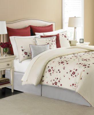 martha stewart collection cranberry blossom 9 piece king comforter set