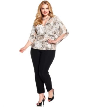 Jbs Plus Size Kimono-Sleeve Paisley Top