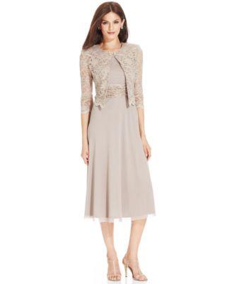 Lace dress with jacket tea length
