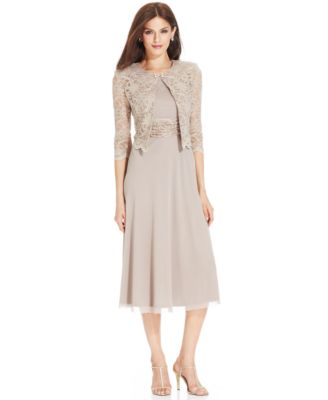 Jessica Howard Petite Sequin Floral-Print Tea-Length Dress ...