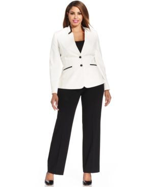 Tahari ASL Plus Size Two-Button Faux-Leather-Trim Pantsuit