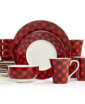 222 Fifth Christmas Plaid 16-Piece Dinnerware Set, Service for 4 ...