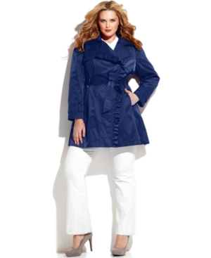 Jessica Simpson Plus Size Ruffle-Trim Belted Trench Coat