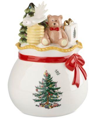 Spode Christmas Tree Figural Santau0027s Toy Bag Candy Box