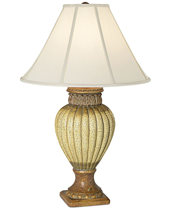 Kathy Ireland - Ribbed Jar With Leaves Table Lamp