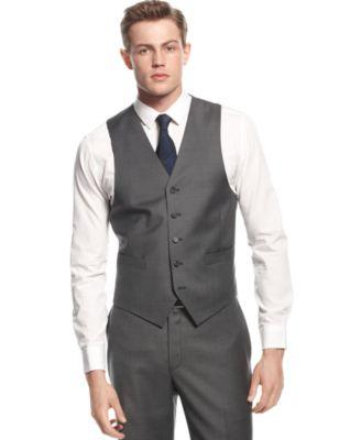 Lauren Ralph Lauren Charcoal Vested Slim-Fit Suit - Suits & Suit ...