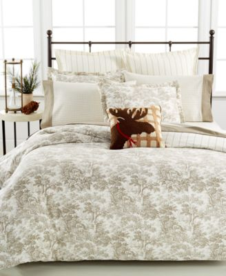 Martha Collection Arcadia Toile Full Queen Flannel Duvet Cover