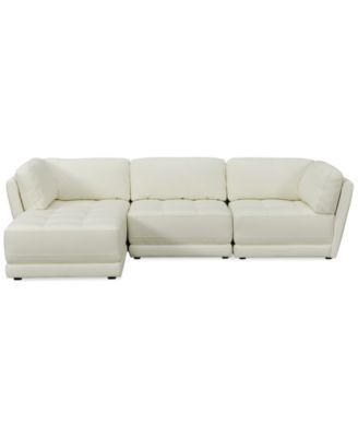traverso leather 3piece chaise modular sectional sofa