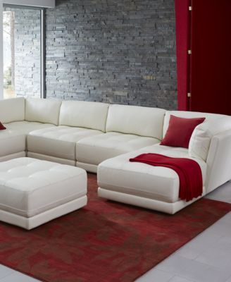 traverso leather 6piece chaise modular sectional sofa