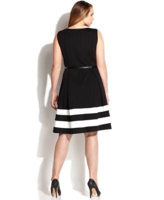 Calvin Klein Plus Size Striped-Hem Belted Dress - Dresses - Women ...