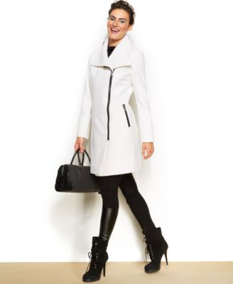 DKNY AsymmetricalZipFront Walker Coat