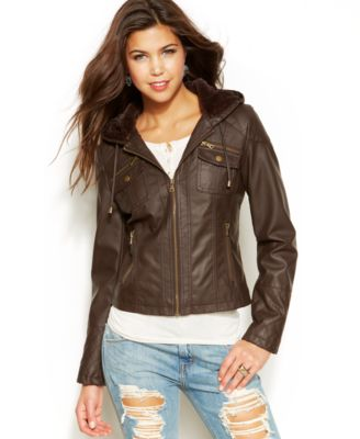 American Rag Shawl Collar Faux-Leather Jacket - Juniors' Clothing ...