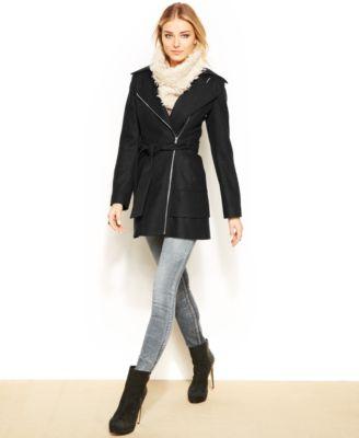 GUESS Asymmetrical Tiered Hem Belted Wool Coat - Coats - Women ...