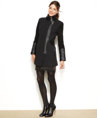 kensie Mixed-Media Asymmetrical Wool Coat - Coats - Women - Macy's