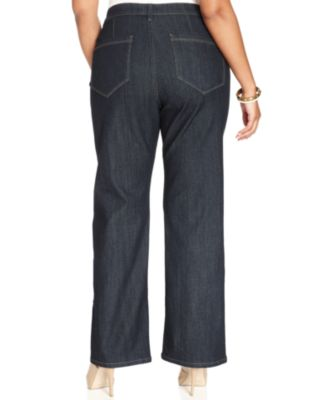 NYDJ Plus Size Isabella Trouser Jeans, Dark Enzyme Wash - Jeans ...