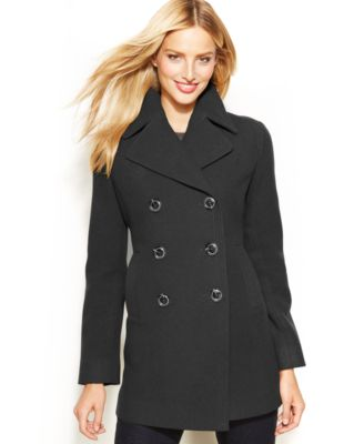 Kenneth Cole Reaction Petite Double-Breasted Wool-Blend Pea Coat ...