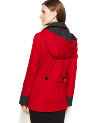 Nautica Double-Breasted Hooded Pea Coat - Coats - Women - Macy's