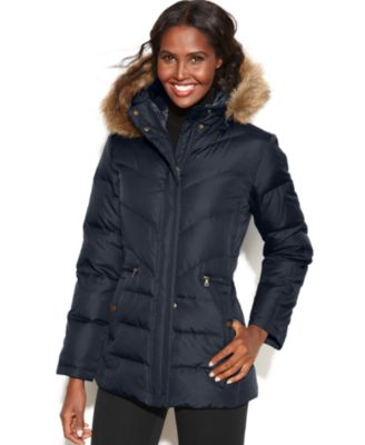 Larry Levine Petite Hooded Faux-Fur-Trim Quilted Down Puffer Coat ...